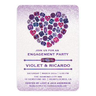 Bejeweled Heart Engagement Party Invitations