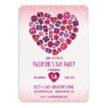 Bejeweled Heart Valentine's Day Party Invitations