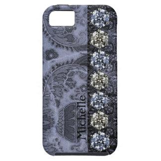 Bejeweled Look Vintage Victorian Black Blue iPhone 5 Case