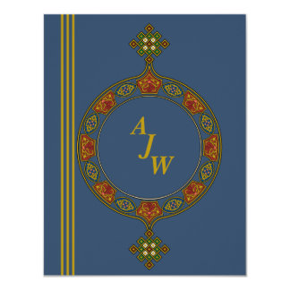 Bejeweled Monogramed Stationery / Notecard 4.25x5.5 Paper Invitation Card