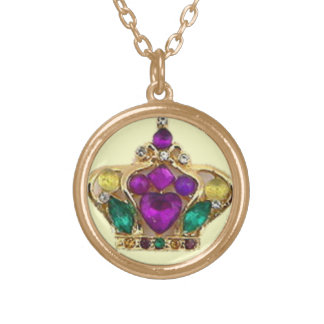 Bejeweled Queen of Mardi Gras Round Pendant Necklace