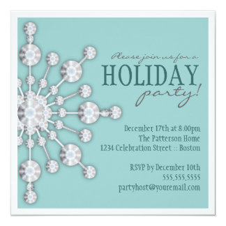 Bejeweled Snowflake Holiday Party Invitation