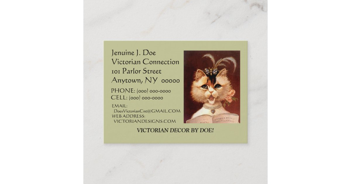BEJEWELED VICTORIAN PARLOR CAT CALLING/CONTACT CRD BUSINESS CARD |  Zazzle com