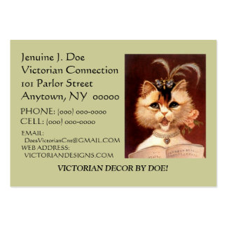 BEJEWELED VICTORIAN PARLOR CAT CALLING/CONTACT CRD LARGE BUSINESS CARDS (Pack OF 100)