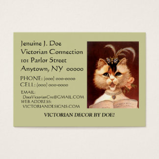 BEJEWELED VICTORIAN PARLOR CAT CALLING/CONTACT CRD BUSINESS CARD