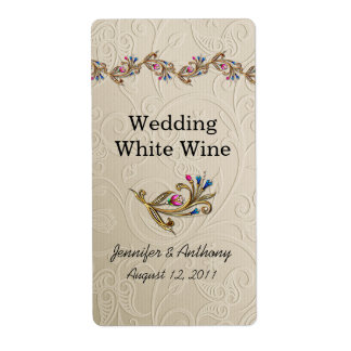 Bejeweled Wedding Wine Labels