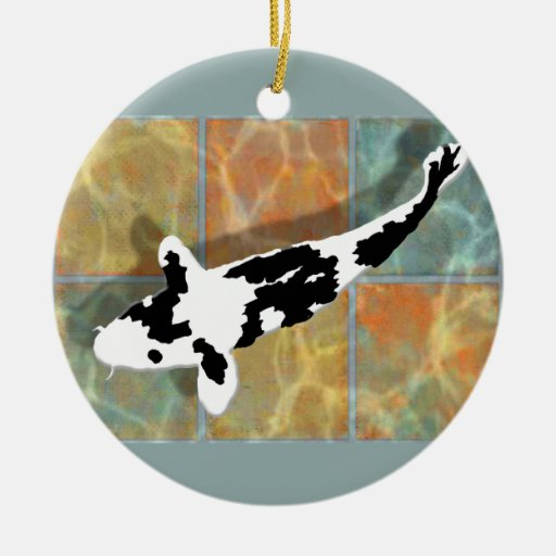 Bekko negro y blanco Koi en la charca tejada Ornamentos Para Reyes Magos