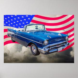 Bel Air 1957 de Chevrolet con la bandera americana Posters