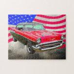 Bel Air 1957 de Chevrolet y bandera americana Rompecabezas