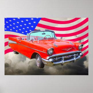 Bel Air 1957 de Chevrolet y bandera de los Posters
