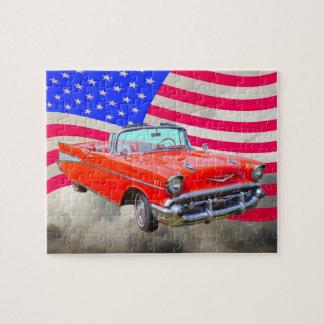 Bel Air 1957 de Chevrolet y bandera de los Puzzle