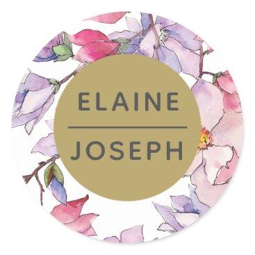 Bel Giardino Blush Floral Wedding Classic Round Sticker