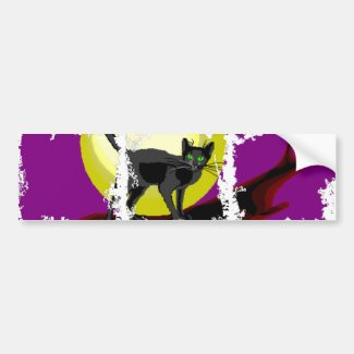 Bela Cat on Purple Bumper Sticker