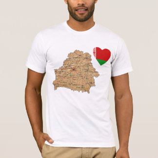 Belarus Flag Heart and Map T-Shirt