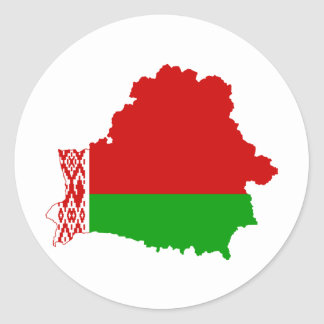 Belarus Flag map BY Classic Round Sticker
