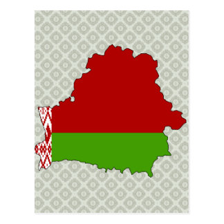 Belarus Flag Map full size Post Cards