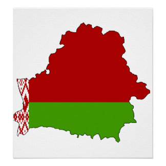Belarus Flag Map full size Poster