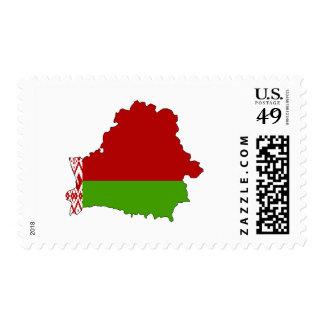 Belarus flag map postage