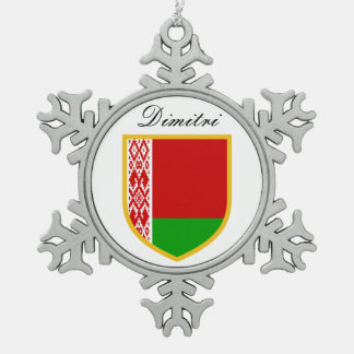 Belarus Flag Snowflake Pewter Christmas Ornament