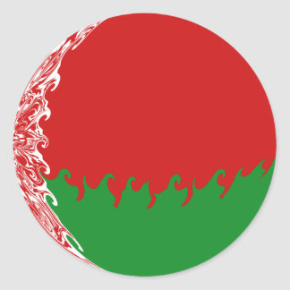 Belarus Gnarly Flag Classic Round Sticker
