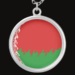 Belarus Gnarly Flag Silver Plated Necklace
