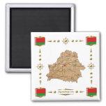 Belarus Map + Flags Magnet