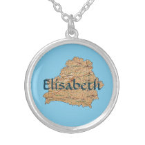 Belarus Map   Name Necklace