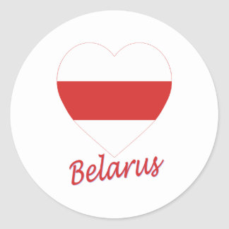 Belarus (traditional) Flag Heart Classic Round Sticker
