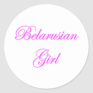 Belarusian Girl Classic Round Sticker