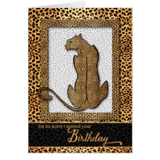 Belated Birthday - Cheetah Animal Print Card