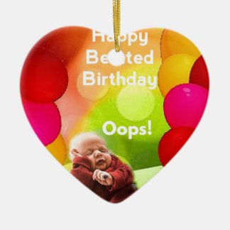 Belated birthday with  balloons ceramic ornament