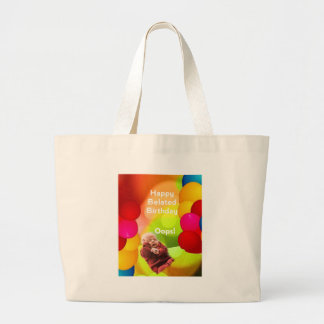 Belated birthday with  balloons large tote bag