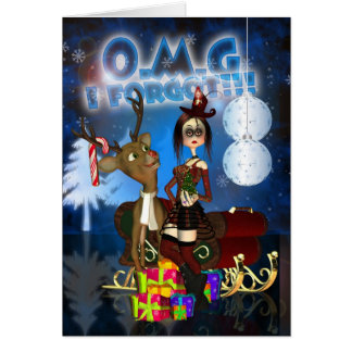 Belated Christmas Card, Gothic, Reindeer H.I.P. Ra Card