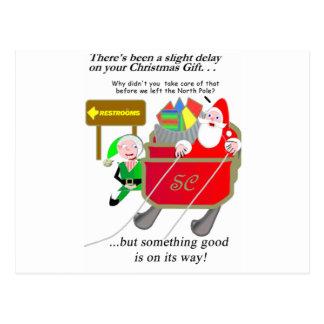 Belated Christmas - Santa Delayed Postcard