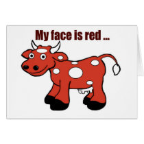 Belated Red Cow Birthday Greeting Card