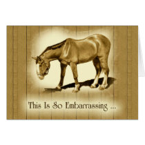 Belated Thank You: Drawing of Horse: Embarrassed Card