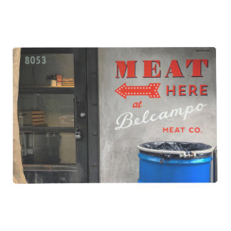 "Belcampo ""Meat Here"" Placemat With Red Back"