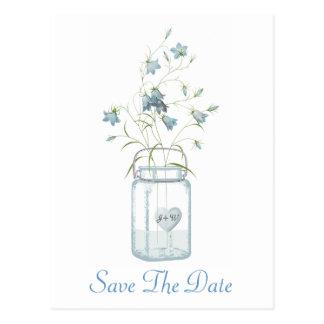 Belces azules en un boda del tarro de albañil postal
