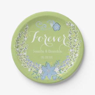 Belces azulverdes que casan para siempre las plato de papel 17,78 cm