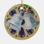Belces de plata, acebo y vitral personalizados ornamento de navidad