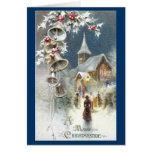 Belces de plata y navidad del vintage de la iglesi felicitaciones