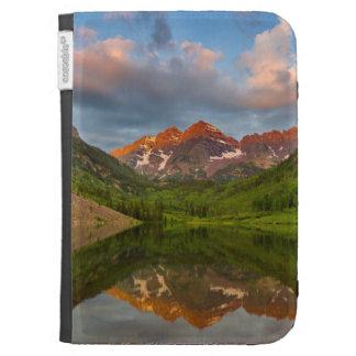 Belces marrón reflejan en el lago marrón tranquilo
