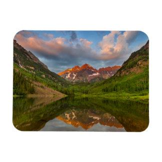 Belces marrón reflejan en el lago marrón tranquilo imán