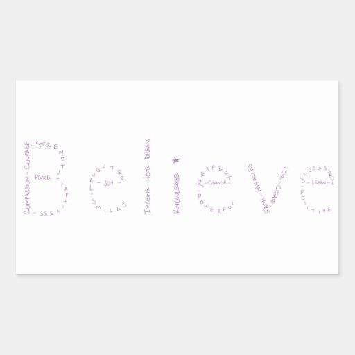 Beleive - Purple - January's WoW Rectangular Sticker