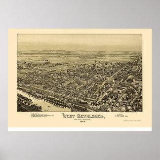 Belén del oeste, mapa panorámico del PA - 1894 Póster