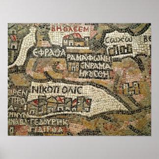 Belén, detalle de un mapa de Jericó Póster