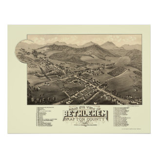 Belén, mapa panorámico del NH - 1883 Póster