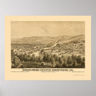 Belén y Belén del sur, mapa panorámico 1877 del PA Póster