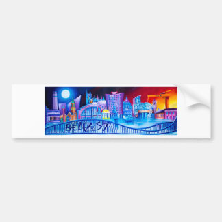 Belfast Panoramic featuring famous landmarks Bumper Sticker