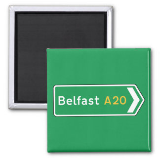 Belfast, señal de tráfico BRITÁNICA Imán Cuadrado